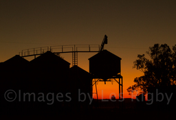 Silhouetted silo red